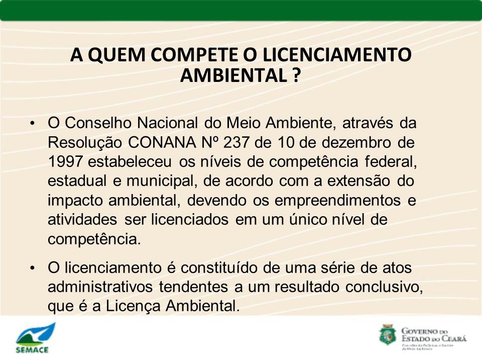 O Conselho Nacional do Meio Ambiente, através da Resolução CONANA Nº 237 de 10 de dezembro de 1997 estabeleceu os níveis de competência federal, estad