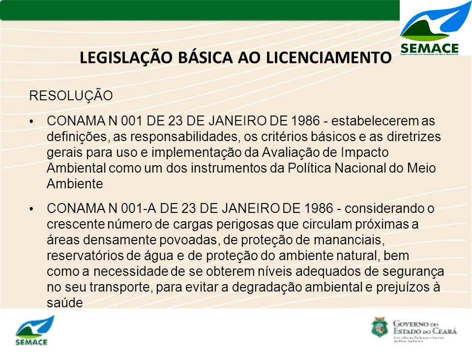 LEGISLAÇÃO BÁSICA AO LICENCIAMENTO RESOLUÇÃO CONAMA N 001 DE 23 DE JANEIRO DE 1986 - estabelecerem as definições, as responsabilidades, os critérios b