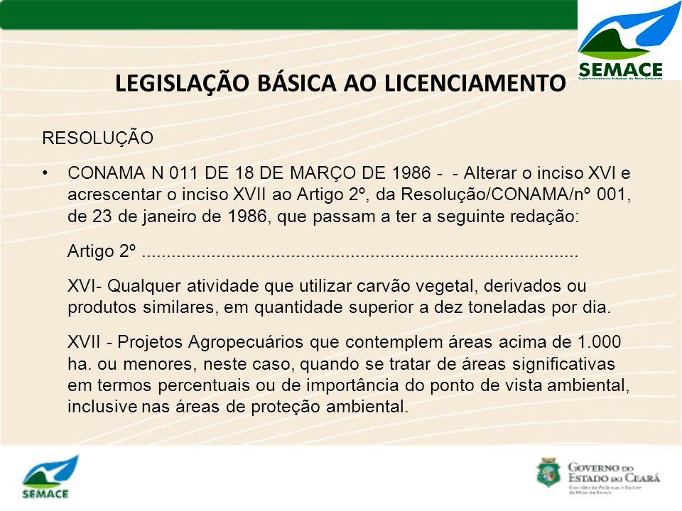 LEGISLAÇÃO BÁSICA AO LICENCIAMENTO RESOLUÇÃO CONAMA N 011 DE 18 DE MARÇO DE 1986 - - Alterar o inciso XVl e acrescentar o inciso XVII ao Artigo 2º, da