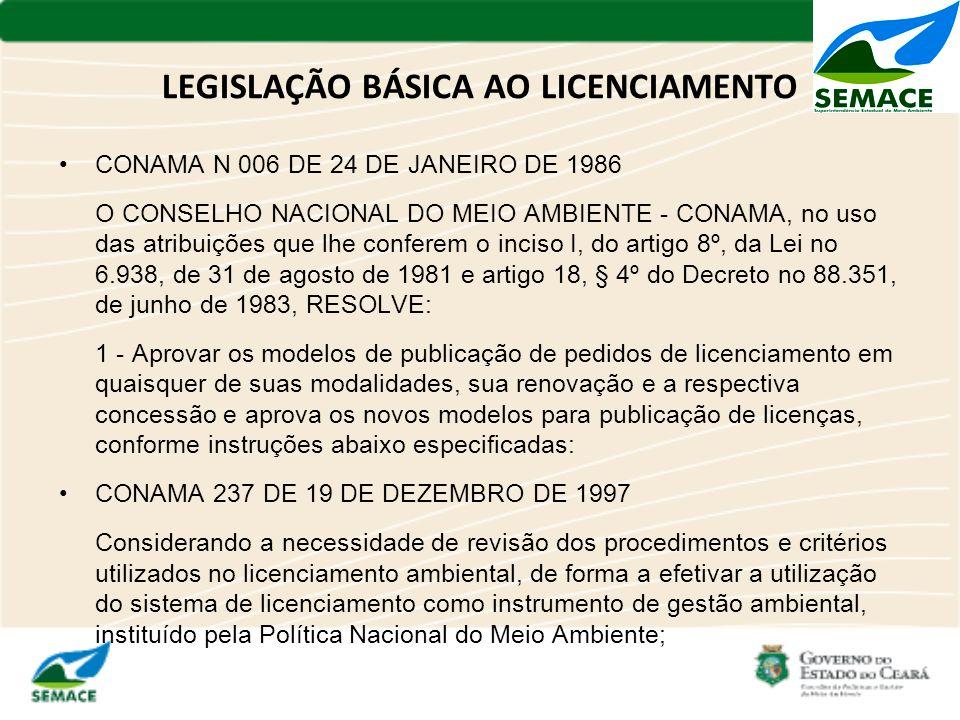 LEGISLAÇÃO BÁSICA AO LICENCIAMENTO CONAMA N 006 DE 24 DE JANEIRO DE 1986 O CONSELHO NACIONAL DO MEIO AMBIENTE - CONAMA, no uso das atribuições que lhe