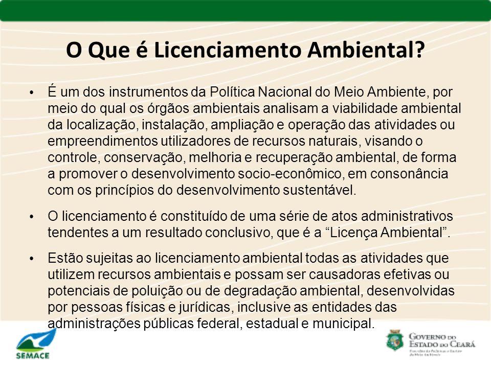 O Que é Licenciamento Ambiental? É um dos instrumentos da Política Nacional do Meio Ambiente, por meio do qual os órgãos ambientais analisam a viabili