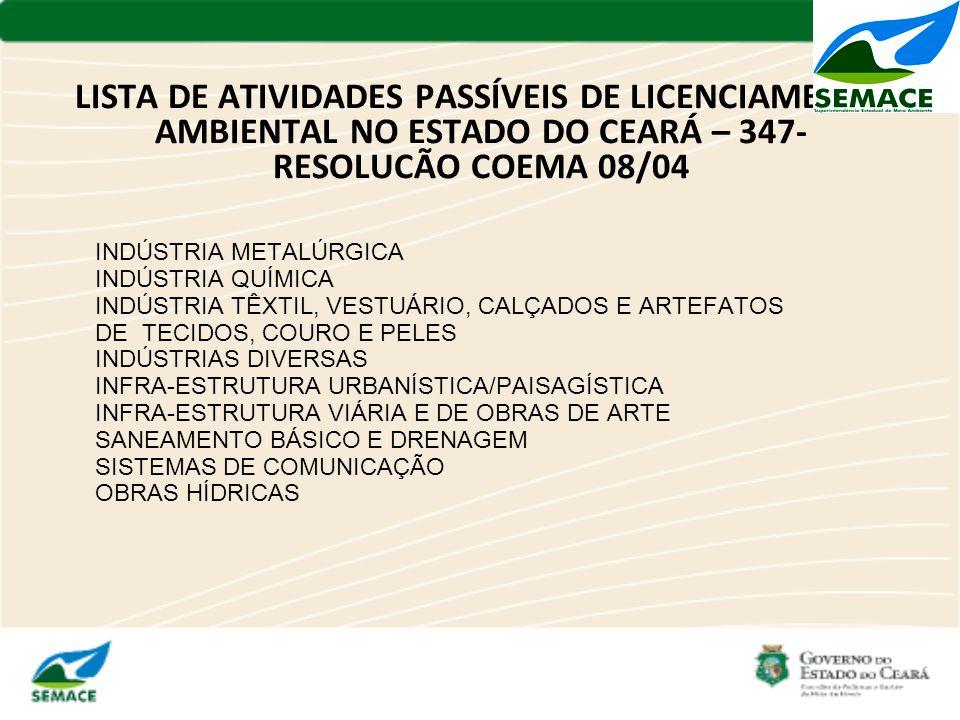 LISTA DE ATIVIDADES PASSÍVEIS DE LICENCIAMENTO AMBIENTAL NO ESTADO DO CEARÁ – 347- RESOLUCÃO COEMA 08/04 INDÚSTRIA METALÚRGICA INDÚSTRIA QUÍMICA INDÚS