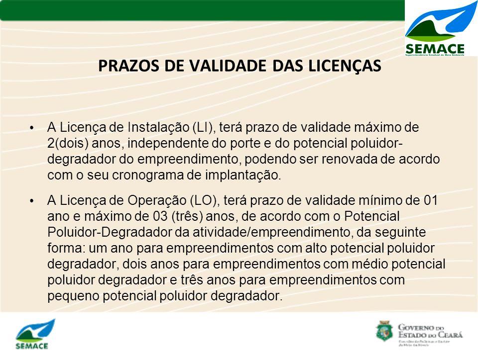 PRAZOS DE VALIDADE DAS LICENÇAS A Licença de Instalação (LI), terá prazo de validade máximo de 2(dois) anos, independente do porte e do potencial polu