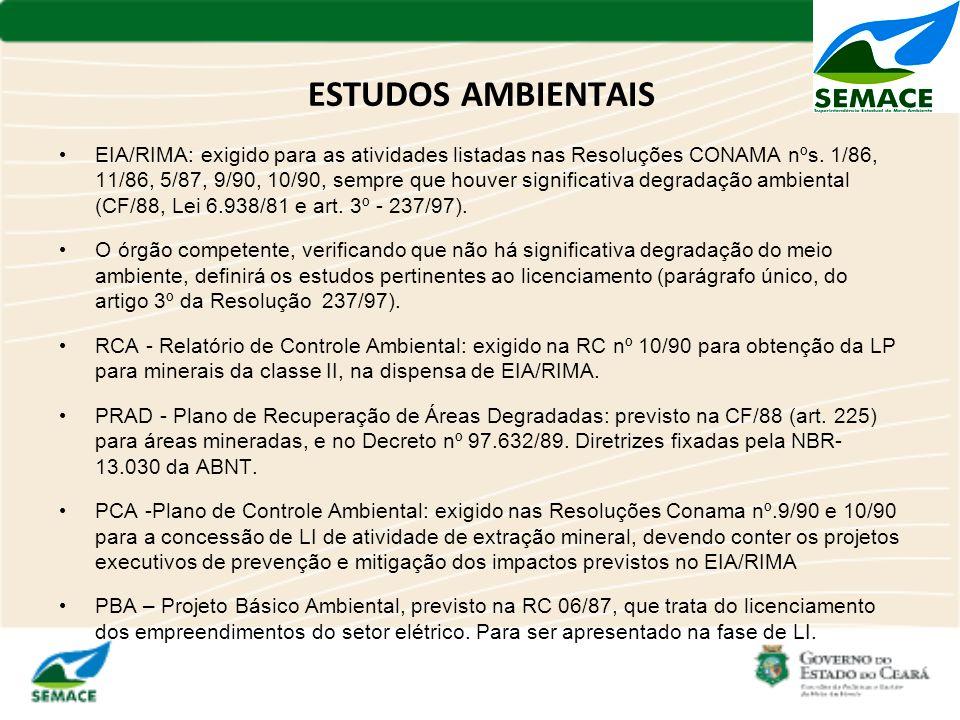 ESTUDOS AMBIENTAIS EIA/RIMA: exigido para as atividades listadas nas Resoluções CONAMA nºs. 1/86, 11/86, 5/87, 9/90, 10/90, sempre que houver signific