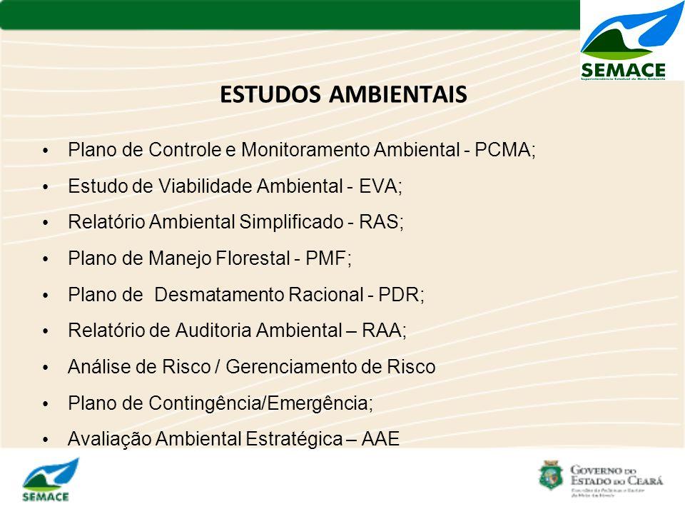 ESTUDOS AMBIENTAIS Plano de Controle e Monitoramento Ambiental - PCMA; Estudo de Viabilidade Ambiental - EVA; Relatório Ambiental Simplificado - RAS;