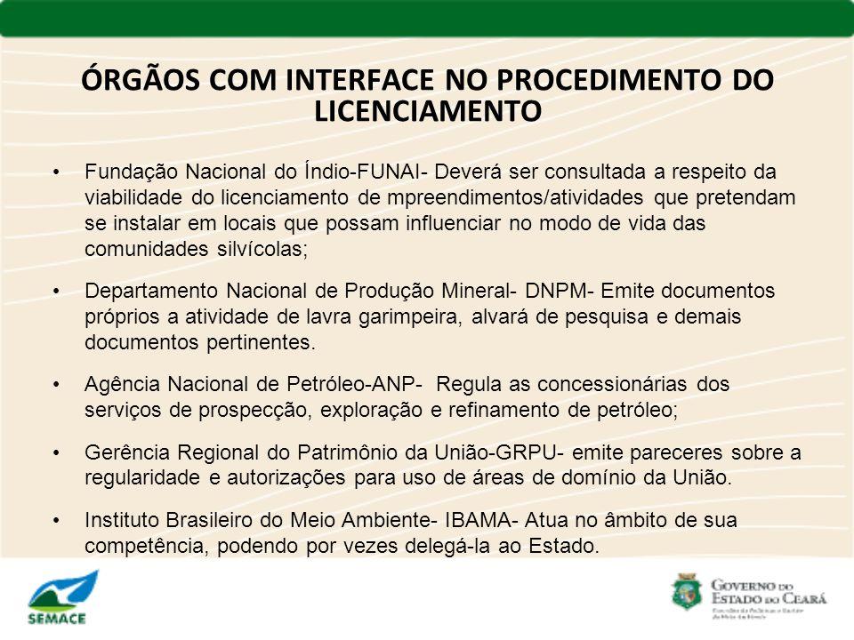 ÓRGÃOS COM INTERFACE NO PROCEDIMENTO DO LICENCIAMENTO Fundação Nacional do Índio-FUNAI- Deverá ser consultada a respeito da viabilidade do licenciamen