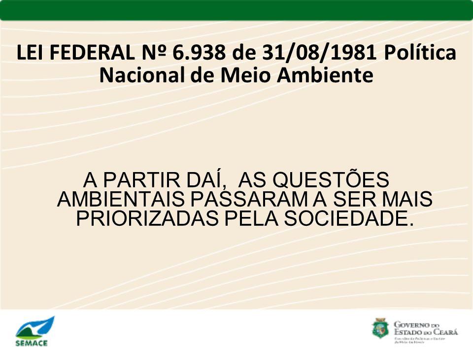LEI FEDERAL Nº 6.938 de 31/08/1981 Política Nacional de Meio Ambiente A PARTIR DAÍ, AS QUESTÕES AMBIENTAIS PASSARAM A SER MAIS PRIORIZADAS PELA SOCIED