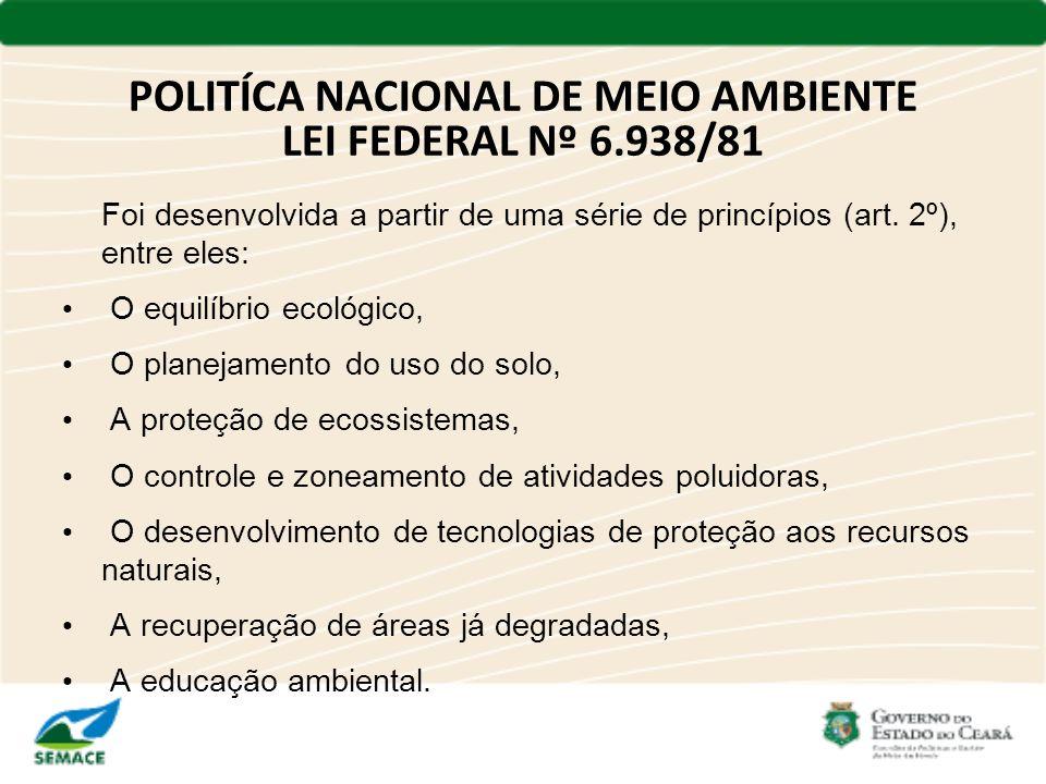 POLITÍCA NACIONAL DE MEIO AMBIENTE LEI FEDERAL Nº 6.938/81 Foi desenvolvida a partir de uma série de princípios (art. 2º), entre eles: O equilíbrio ec