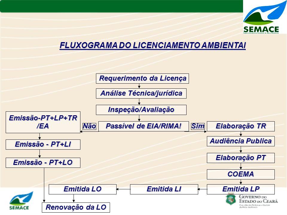 FLUXOGRAMA DO LICENCIAMENTO AMBIENTAl Requerimento da Licença Análise Técnica/jurídica Inspeção/Avaliação Passível de EIA/RIMA! Sim Elaboração TR Não