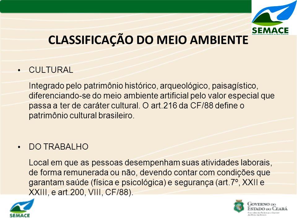 CLASSIFICAÇÃO DO MEIO AMBIENTE CULTURAL Integrado pelo patrimônio histórico, arqueológico, paisagístico, diferenciando-se do meio ambiente artificial