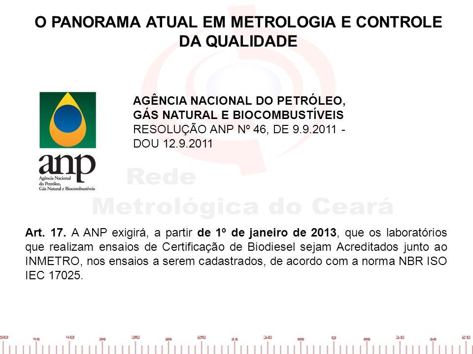 Art. 17. A ANP exigirá, a partir de 1º de janeiro de 2013, que os laboratórios que realizam ensaios de Certificação de Biodiesel sejam Acreditados jun