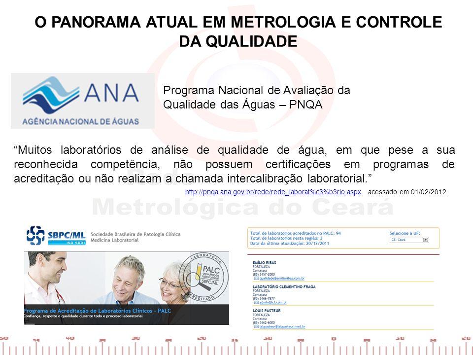 Programa Nacional de Avaliação da Qualidade das Águas – PNQA Muitos laboratórios de análise de qualidade de água, em que pese a sua reconhecida compet