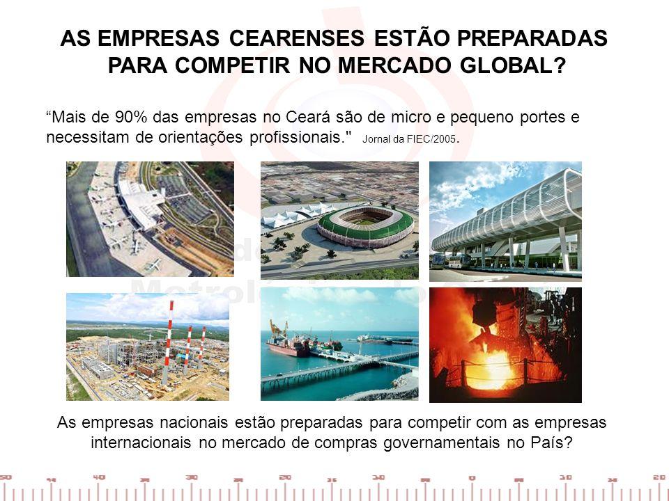 AS EMPRESAS CEARENSES ESTÃO PREPARADAS PARA COMPETIR NO MERCADO GLOBAL? Mais de 90% das empresas no Ceará são de micro e pequeno portes e necessitam d