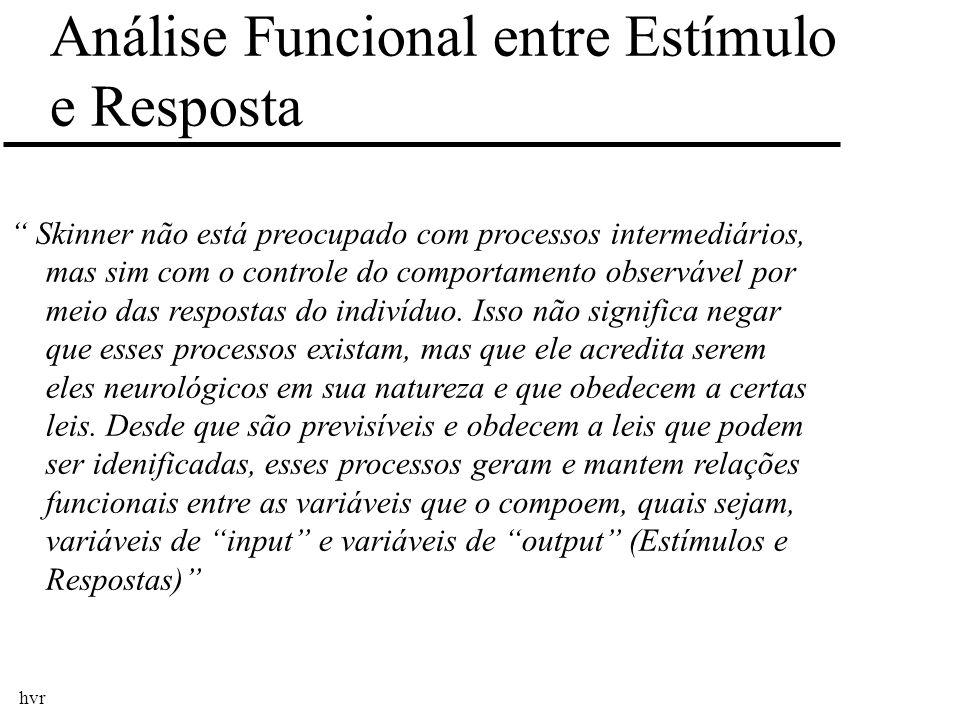 hvr Skinner não está preocupado com processos intermediários, mas sim com o controle do comportamento observável por meio das respostas do indivíduo.