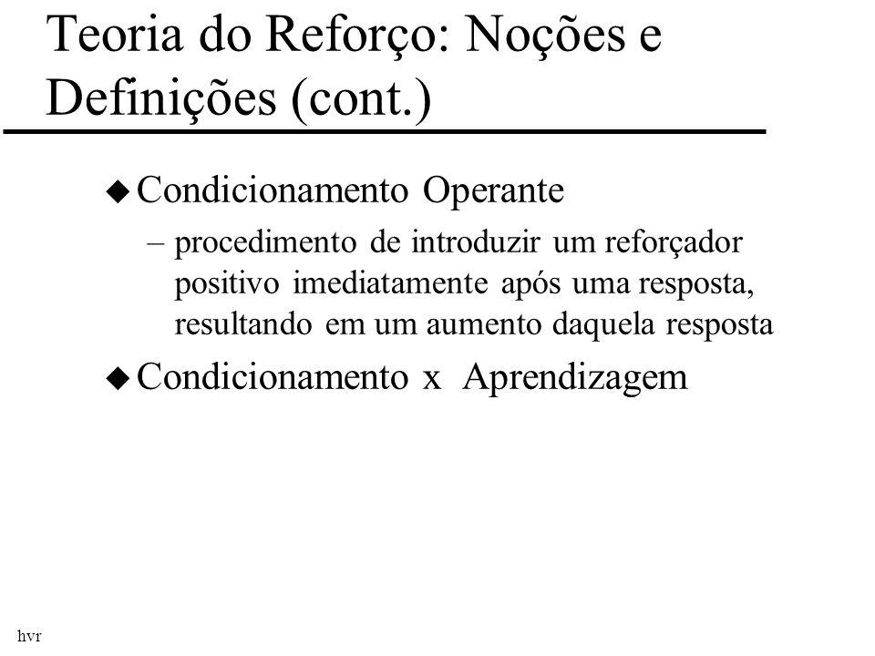 hvr Teoria do Reforço: Noções e Definições (cont.) u Condicionamento Operante –procedimento de introduzir um reforçador positivo imediatamente após um