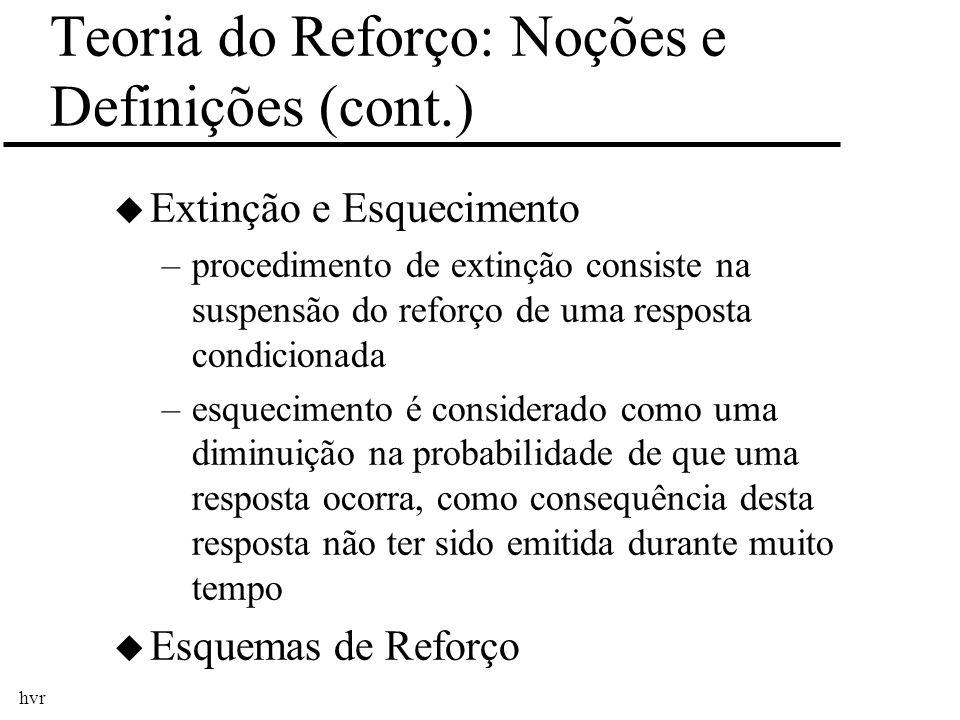 hvr Teoria do Reforço: Noções e Definições (cont.) u Extinção e Esquecimento –procedimento de extinção consiste na suspensão do reforço de uma respost