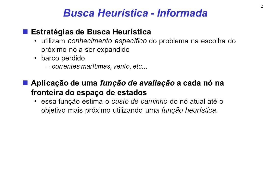 2 Busca Heurística - Informada Estratégias de Busca Heurística utilizam conhecimento específico do problema na escolha do próximo nó a ser expandido barco perdido –correntes marítimas, vento, etc...