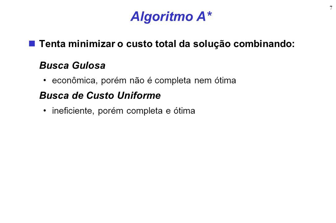 7 Algoritmo A* Tenta minimizar o custo total da solução combinando: Busca Gulosa econômica, porém não é completa nem ótima Busca de Custo Uniforme ineficiente, porém completa e ótima