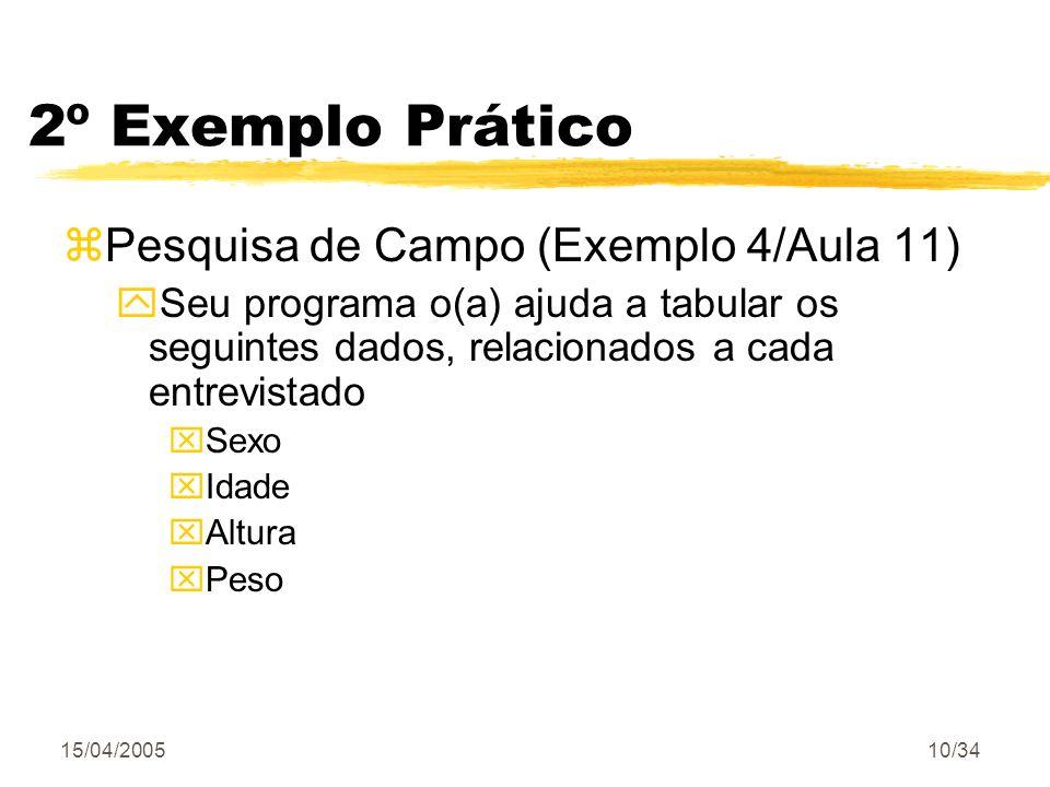 15/04/200510/34 zPesquisa de Campo (Exemplo 4/Aula 11) ySeu programa o(a) ajuda a tabular os seguintes dados, relacionados a cada entrevistado xSexo x