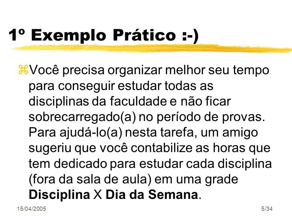 15/04/20055/34 1º Exemplo Prático :-) zVocê precisa organizar melhor seu tempo para conseguir estudar todas as disciplinas da faculdade e não ficar so