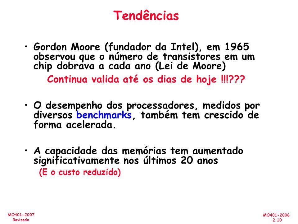 MO401-2006 2.10 MO401-2007 Revisado Tendências Gordon Moore (fundador da Intel), em 1965 observou que o número de transistores em um chip dobrava a cada ano (Lei de Moore) Continua valida até os dias de hoje !!!??.