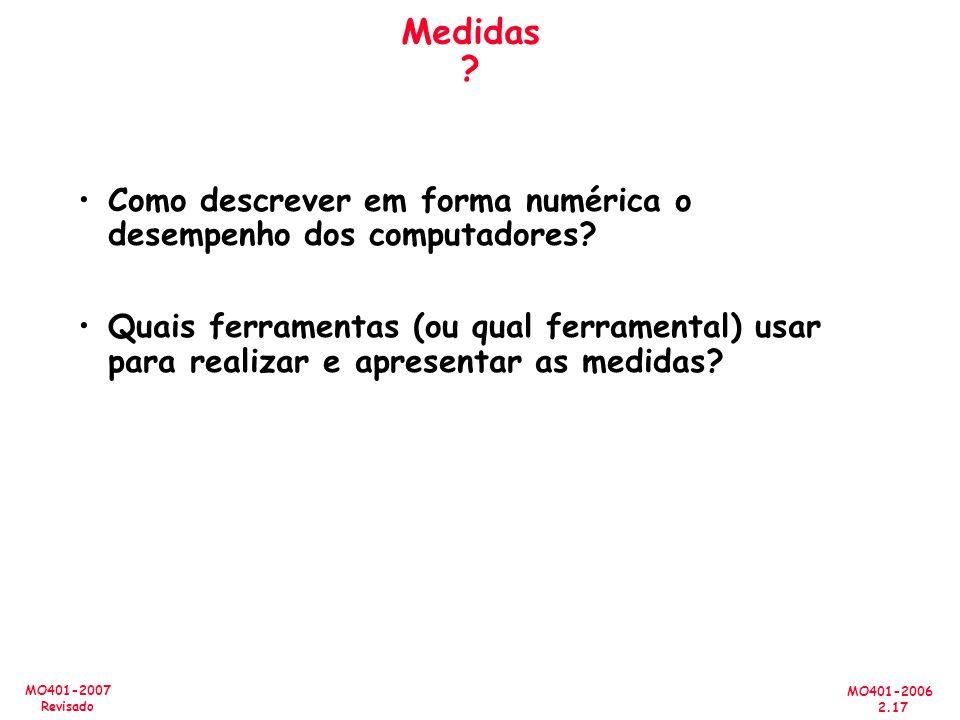 MO401-2006 2.17 MO401-2007 Revisado Medidas ? Como descrever em forma numérica o desempenho dos computadores? Quais ferramentas (ou qual ferramental)