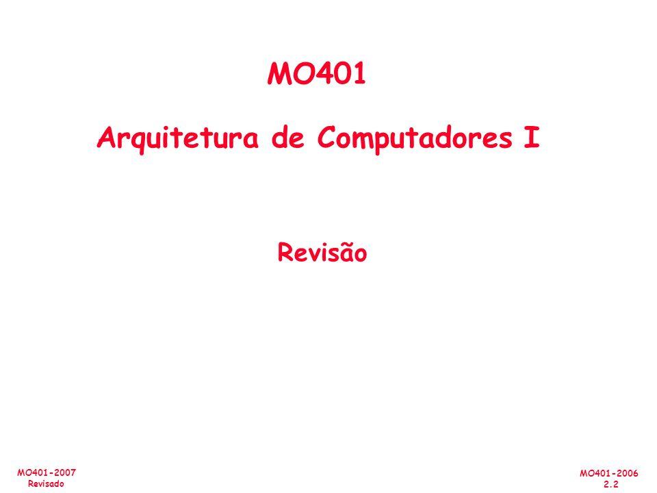 MO401-2006 2.3 MO401-2007 Revisado Resumo #1/3: Pipelining & Desempenho Sobreposição de tarefas; fácil se as tarefas são independentes Speed Up Pipeline Depth; Se CPI ideal for 1, então: Hazards limita o desempenho nos computadores: –Estrutural: é necessário mais recursos de HW –Dados (RAW,WAR,WAW): forwarding, compiler scheduling –Controle: delayed branch, prediction Tempo é a medida de desempenho: latência ou throughput CPI Law: CPU time= Seconds = Instructions x Cycles x Seconds Program Program Instruction Cycle CPU time= Seconds = Instructions x Cycles x Seconds Program Program Instruction Cycle