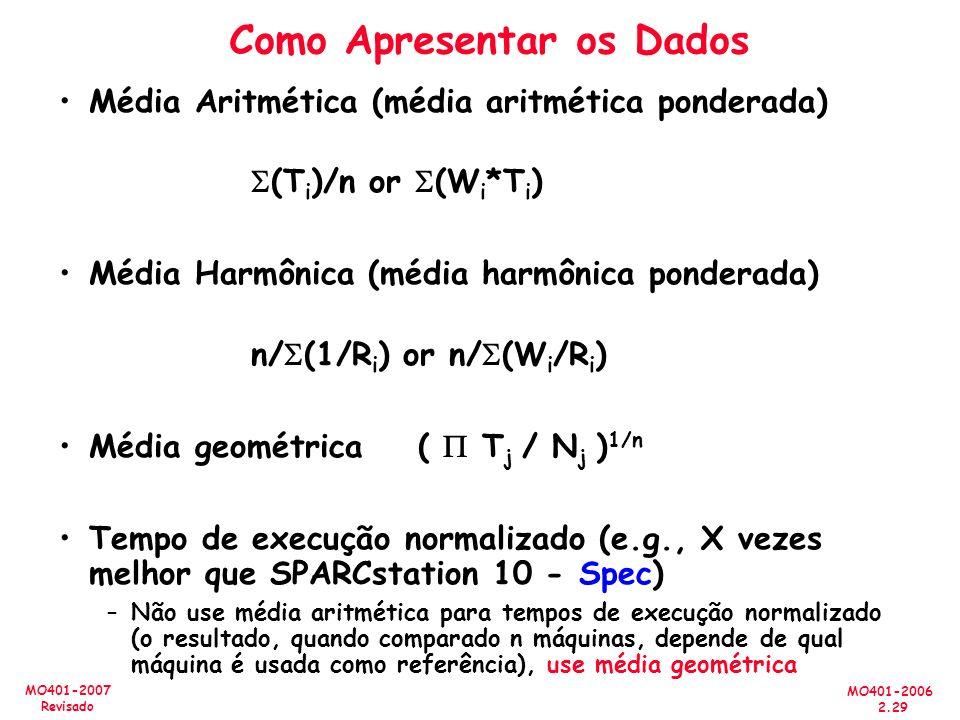 MO401-2006 2.29 MO401-2007 Revisado Como Apresentar os Dados Média Aritmética (média aritmética ponderada) (T i )/n or (W i *T i ) Média Harmônica (mé