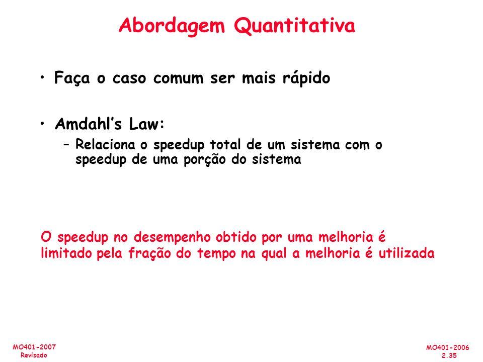 MO401-2006 2.35 MO401-2007 Revisado Abordagem Quantitativa Faça o caso comum ser mais rápido Amdahls Law: –Relaciona o speedup total de um sistema com