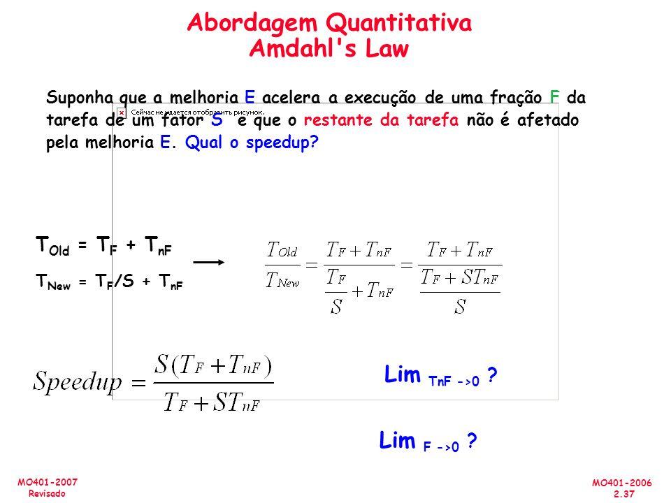 MO401-2006 2.37 MO401-2007 Revisado Abordagem Quantitativa Amdahl's Law T Old = T F + T nF T New = T F /S + T nF Lim TnF ->0 ? Lim F ->0 ? Suponha que