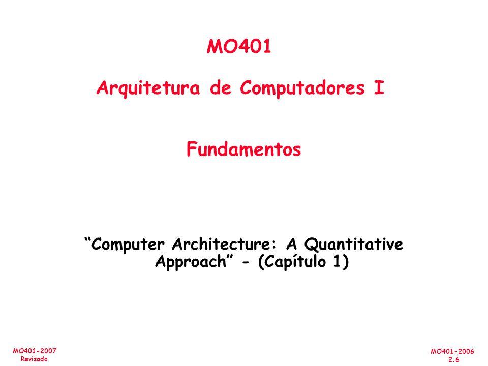 MO401-2006 2.37 MO401-2007 Revisado Abordagem Quantitativa Amdahl s Law T Old = T F + T nF T New = T F /S + T nF Lim TnF ->0 .