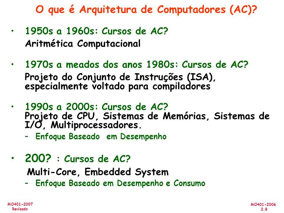 MO401-2006 2.29 MO401-2007 Revisado Como Apresentar os Dados Média Aritmética (média aritmética ponderada) (T i )/n or (W i *T i ) Média Harmônica (média harmônica ponderada) n/ (1/R i ) or n/ (W i /R i ) Média geométrica ( T j / N j ) 1/n Tempo de execução normalizado (e.g., X vezes melhor que SPARCstation 10 - Spec) –Não use média aritmética para tempos de execução normalizado (o resultado, quando comparado n máquinas, depende de qual máquina é usada como referência), use média geométrica