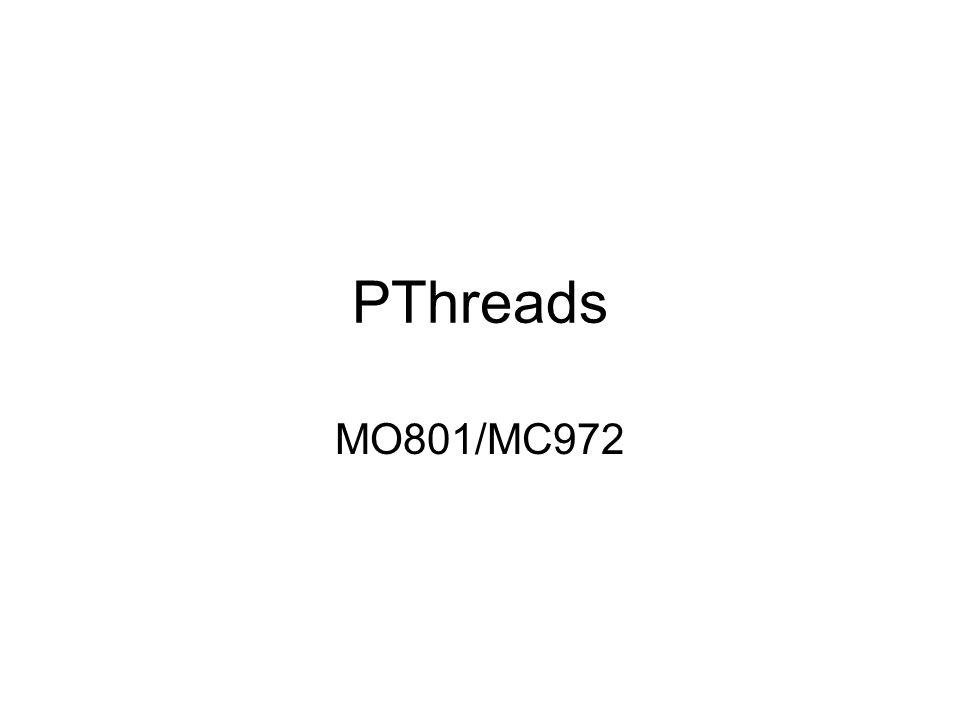 pthread_create #include void *print_message_function( void *ptr ); main() { pthread_t thread1, thread2; char *message1 = Thread 1, *message2 = Thread 2 ; int iret1, iret2; iret1 = pthread_create( &thread1, NULL, print_message_function, (void*) message1);pthread_create iret2 = pthread_create( &thread2, NULL, print_message_function, (void*) message2); pthread_join( thread1, NULL);pthread_join pthread_join( thread2, NULL); printf( Thread 1 returns: %d\n ,iret1); printf( Thread 2 returns: %d\n ,iret2); exit(0); } void *print_message_function( void *ptr ) { char *message; message = (char *) ptr; printf( %s \n , message); }