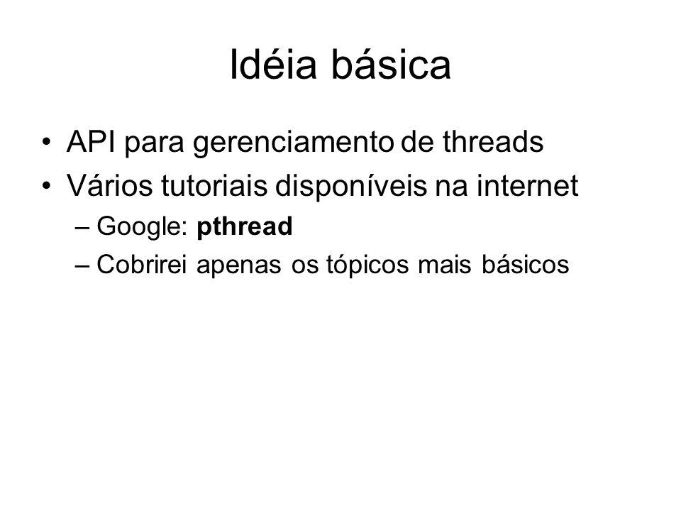 Idéia básica API para gerenciamento de threads Vários tutoriais disponíveis na internet –Google: pthread –Cobrirei apenas os tópicos mais básicos