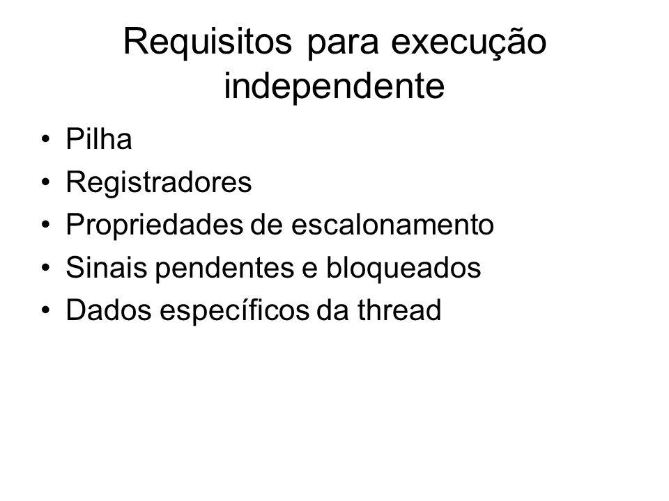 Requisitos para execução independente Pilha Registradores Propriedades de escalonamento Sinais pendentes e bloqueados Dados específicos da thread