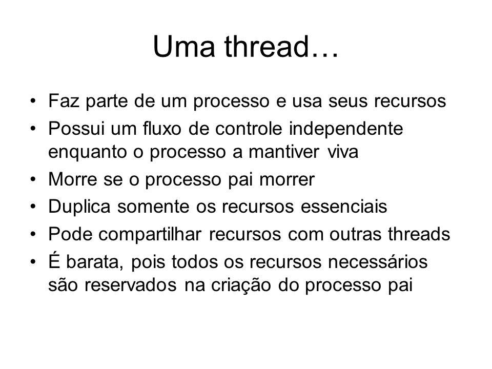 Uma thread… Faz parte de um processo e usa seus recursos Possui um fluxo de controle independente enquanto o processo a mantiver viva Morre se o proce