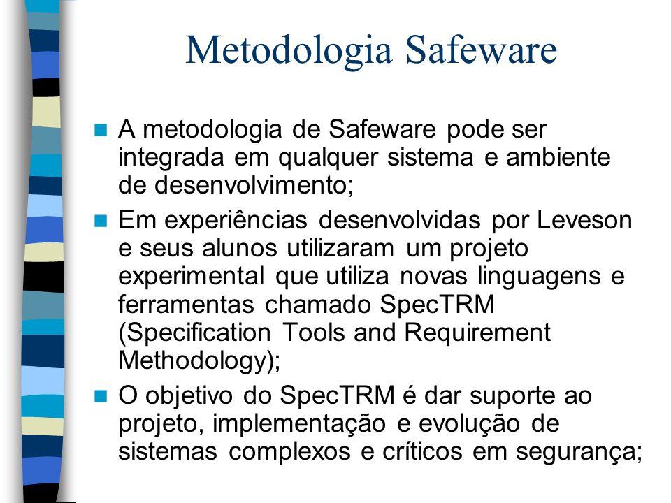 Metodologia Safeware A metodologia de Safeware pode ser integrada em qualquer sistema e ambiente de desenvolvimento; Em experiências desenvolvidas por