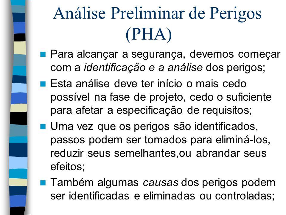 Análise Preliminar de Perigos (PHA) Para alcançar a segurança, devemos começar com a identificação e a análise dos perigos; Esta análise deve ter iníc