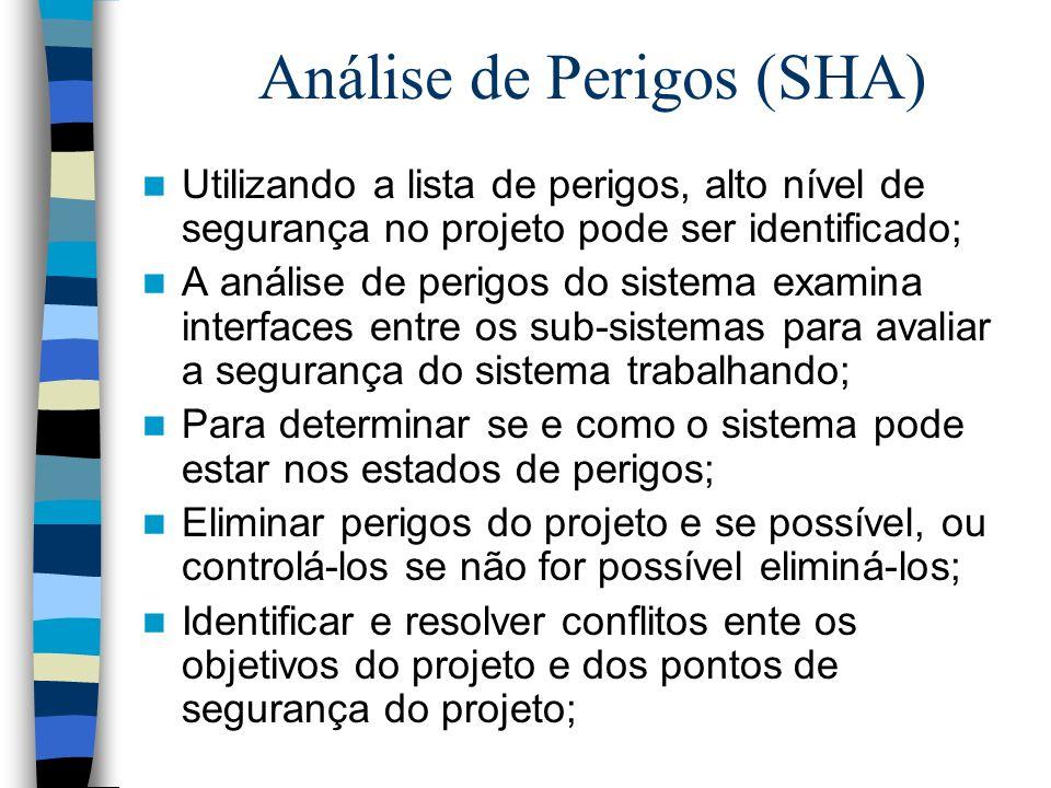 Análise de Perigos (SHA) Utilizando a lista de perigos, alto nível de segurança no projeto pode ser identificado; A análise de perigos do sistema exam