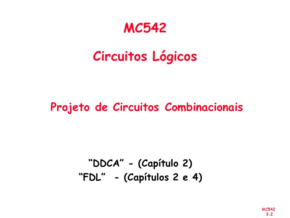 MC542 3.13 f Minimal-cost realization x 2 x 1 f Canonical sum-of-products x 1 x 2 Síntese Usando Portas And, OR e Not