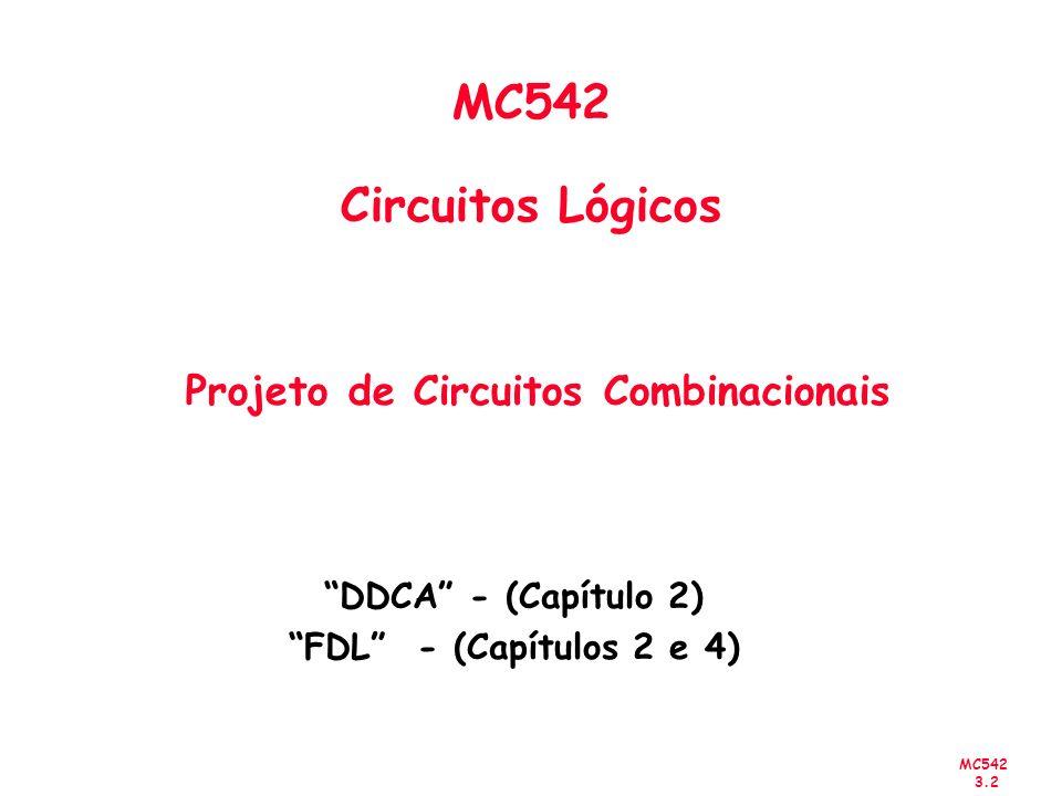 MC542 3.63 Exemplo x 1 x 2 x 3 x 4 0 00011110 000 0110 1101 1111 00 01 11 10 x 2 x 3 + x 3 x 4 + x 1 x 2 x 3 x 4 +++