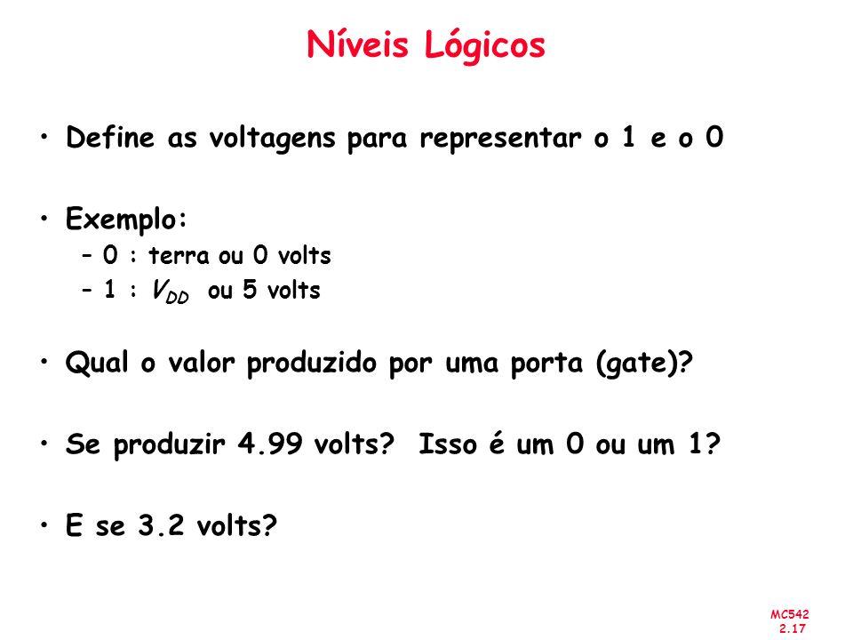MC542 2.17 Níveis Lógicos Define as voltagens para representar o 1 e o 0 Exemplo: –0 : terra ou 0 volts –1 : V DD ou 5 volts Qual o valor produzido po