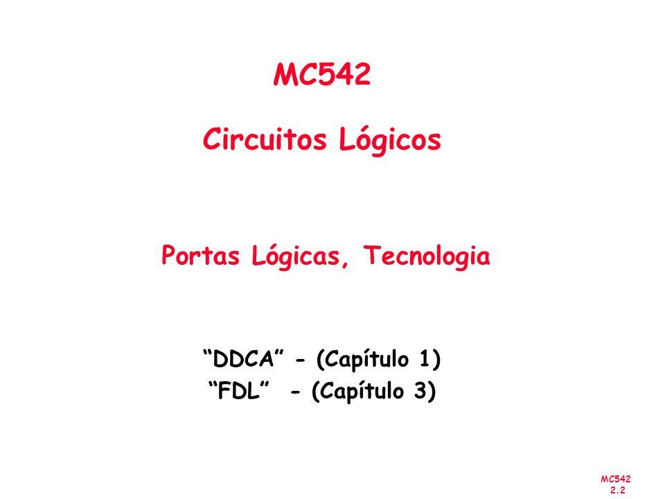 MC542 2.2 MC542 Circuitos Lógicos Portas Lógicas, Tecnologia DDCA - (Capítulo 1) FDL - (Capítulo 3)