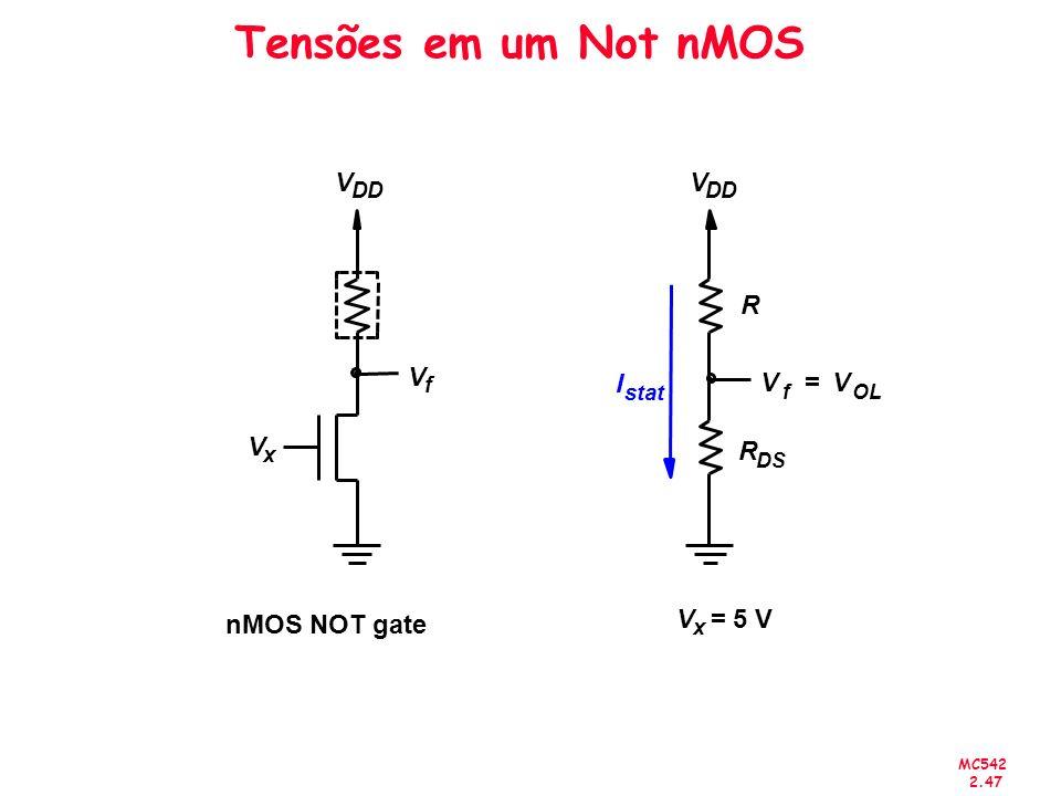 MC542 2.47 Tensões em um Not nMOS V DD V x = 5 V I stat R R DS V f V OL = nMOS NOT gate V f V DD V x