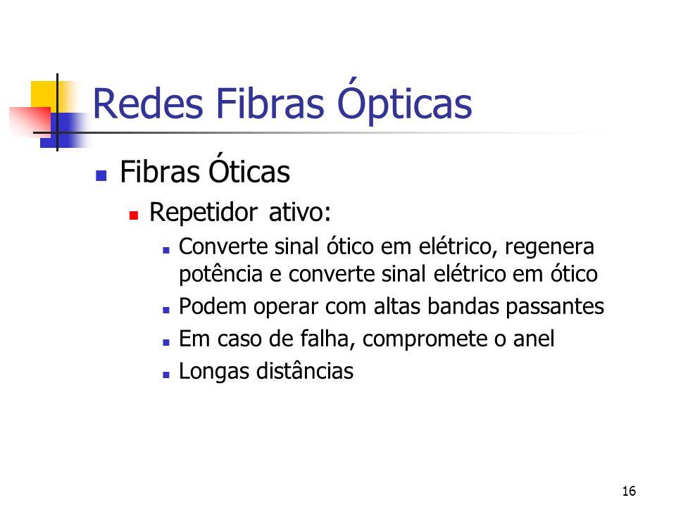 16 Redes Fibras Ópticas Fibras Óticas Repetidor ativo: Converte sinal ótico em elétrico, regenera potência e converte sinal elétrico em ótico Podem operar com altas bandas passantes Em caso de falha, compromete o anel Longas distâncias