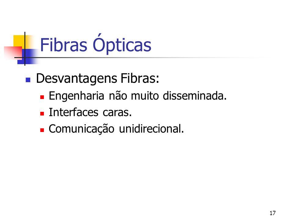 17 Fibras Ópticas Desvantagens Fibras: Engenharia não muito disseminada.