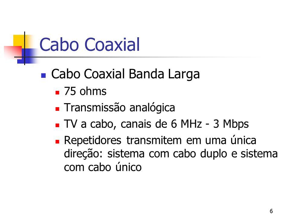 6 Cabo Coaxial Cabo Coaxial Banda Larga 75 ohms Transmissão analógica TV a cabo, canais de 6 MHz - 3 Mbps Repetidores transmitem em uma única direção: sistema com cabo duplo e sistema com cabo único