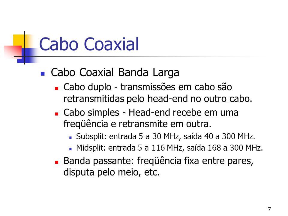 7 Cabo Coaxial Cabo Coaxial Banda Larga Cabo duplo - transmissões em cabo são retransmitidas pelo head-end no outro cabo.