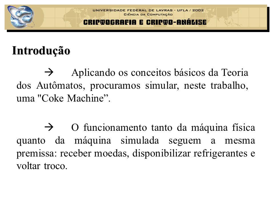 O problema Representação da máquina como um autômato: O problema consiste em traduzir as operações e os estados de uma máquina real para um autômato, mais precisamente uma Máquina de Moore.