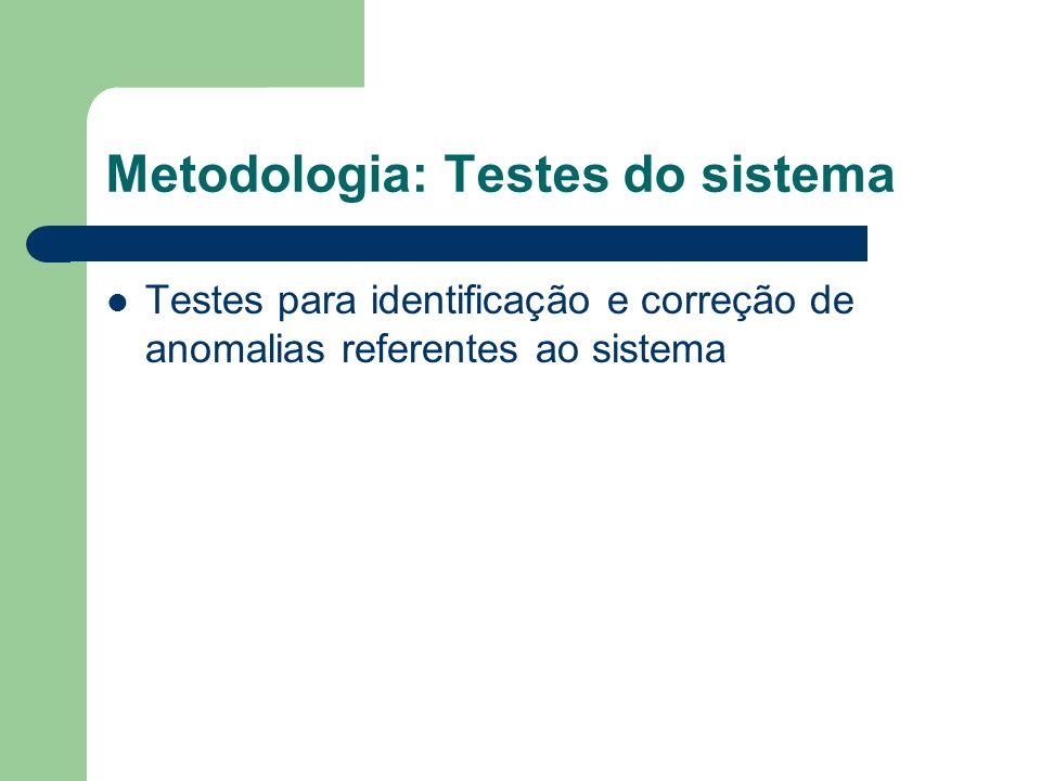 Metodologia: Testes do sistema Testes para identificação e correção de anomalias referentes ao sistema